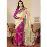 Ambika Designer Cream & Pink Brasso With Blouse Saree-2033 available at ShopClues for Rs.2876