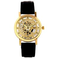 Gala Time Skeleton Roman Dial Black Leather Strap Gold Case Wrist Watch For Men!
