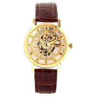 GT Gala Time Skeleton Roman Dial Brown Leather Strap Gold Case Wrist Watch For M