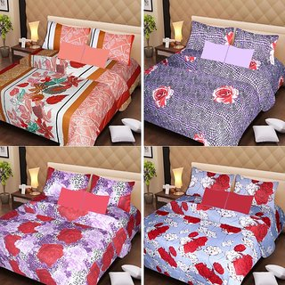 Akash Ganga Beautiful Combo of 4 Double Bedsheets with 8 Pillow Covers (AG1239)