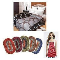 Combo-Double Bed Ac Blanket With 4 Door Mats And 1 Apron