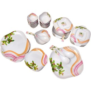 Diamond Crockery 34 Piece Floral Dinner Set -  Yellow