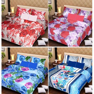 Akash Ganga Beautiful Combo of 4 Double Bedsheets with 8 Pillow Covers (AG1242)