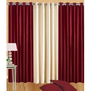 Fabbig Maroon and Cream Crushed Window Curtain (Set of 3)