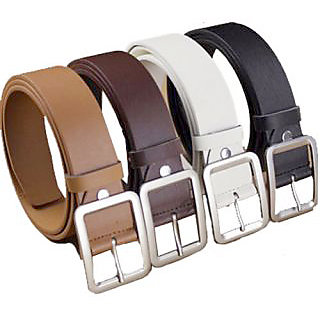 Leatherite Mens Formal Belt With Square Buckle-Pack Of 4