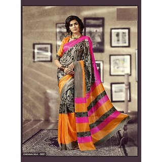 Glam'Ore'by mehak Bhagalpur Silk Orange pink and Grey Saree
