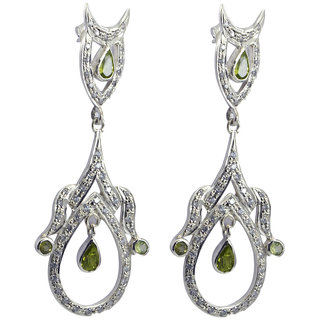 Riyo Green Peridot 925 Solid Sterling Silver Glamorous Earring L 2in Seper-58076