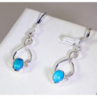 Riyo Turquoise Oxidized Silver Jewelry India L 2in Setur-82054