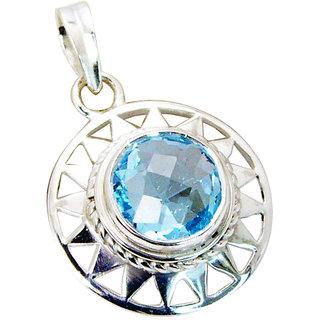 Riyo Blue Topaz Stamped Silver Jewellery Pendant Set L 1in Spbto-10027