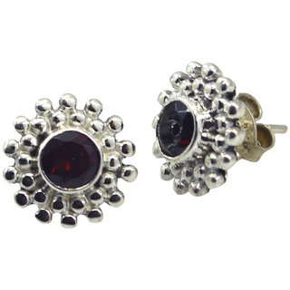 Riyo Red Garnet 925 Solid Sterling Silver Subtle Earring L 0.5in Segar-26118