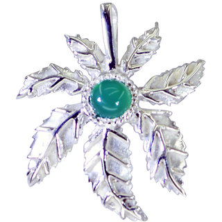 Riyo Green Onyx Silver Gemstone Jewelry Bridge Pendant L 1in Spgon-30003