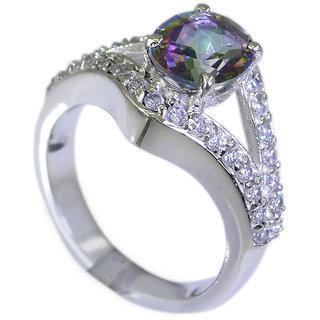 Riyo Mystic Quartz Silver Filigree Jewelry Brushed Silver Ring Sz 6 Srmqu6-54004