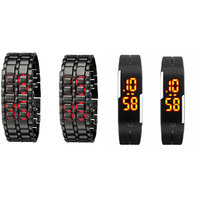 Pack Of 2 Metal Led Watches + 2 Black Robotic Led Watches For Couples
