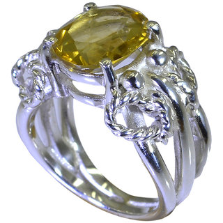 Riyo Yellow Citrine 925 Solid Sterling Silver Inlaid Ring Srcit70-14080