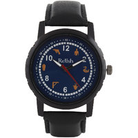 Relish Black Analog Leather Casual Wear Watch For Men - 83062717