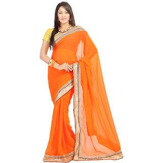 Rangoli Nice Georgette Orange Embroidered Saree FL-1033