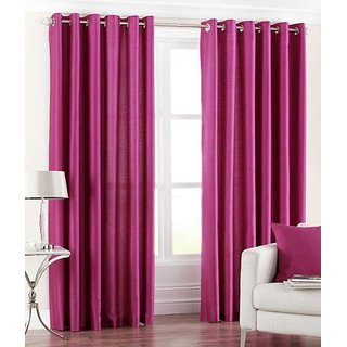 Fabbig Pink Crushed Window Curtain (Set of 2)