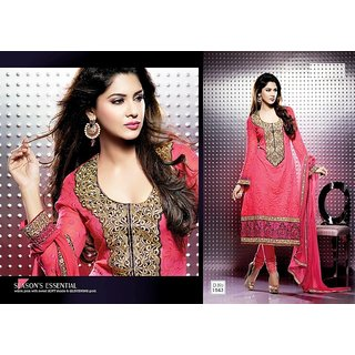 Glam'Ore'by Mehak Designer Pale Pink Georgette Semi Stitched Suit Set