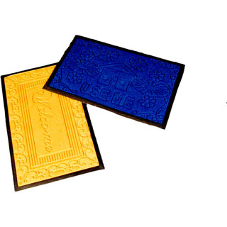 Ritika Carpets Blue  Yellow Plain Floor Mat- Set of 2  1547