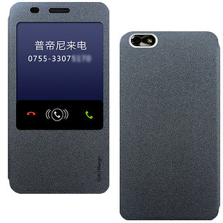 Huawei Honor 4x Flip Cover / Case with Notification Window - Cool Mango Easy View Series - Beach Black