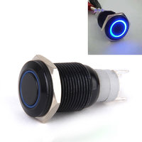 1 x Momentary Push Button Horn Switch Blue LED Light for Doorbell/Boat/Car