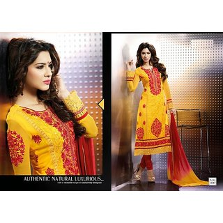Glam'Ore'by Mehak Designer Dull Yellow Georgette Semi Stitched Suit Set