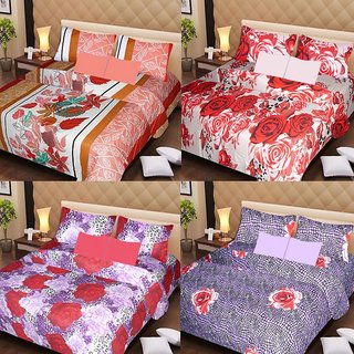 Akash Ganga Beautiful Combo of 4 Double Bedsheets with 8 Pillow Covers (AG1246)