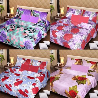 Akash Ganga Beautiful Combo of 4 Double Bedsheets with 8 Pillow Covers (AG1248)