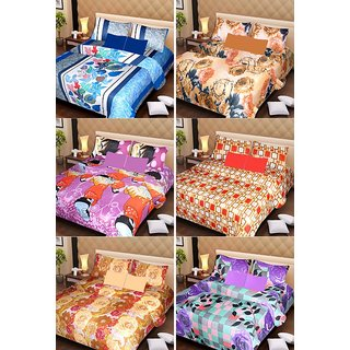Akash Ganga Beautiful Combo of 6 Double Bedsheets with 12 Pillow Covers (AG1253)