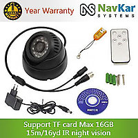 All in One 15m IR Night Vision TF Card DVR Indoor Dome Camera with TV Out