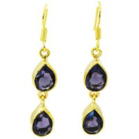 Riyo Amethyst Cz 18 Kt Gold Platings Indian Jewellery L 1in Gpeamcz-88004