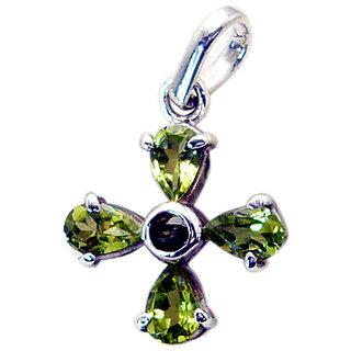 Riyo Peridot Silver Jewelry Women Silver Pentacle Pendant L 0.7in Spper-58001