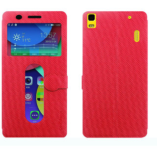Lenovo A7000 Flip Cover With Notification Window - Cool Mango iMaterial Window Flip Cover / Case for Lenovo A 7000 - Cherry Red