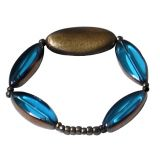 Villcart Blue And Bronze Glass Bead Bracelet
