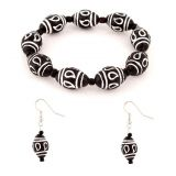 Villcart Ceramic Bead Bracelet And Earrings Set For Casual