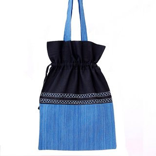 Villcart Cotton Pouch Bag - Blue and Black