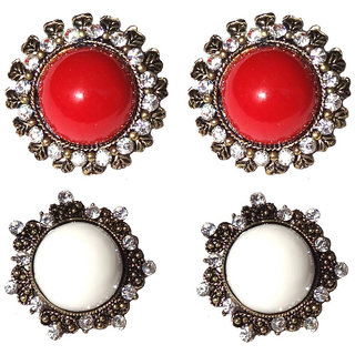 Fashion Maroon  White Antique Finish Earrings (Combo of 2 Set) -10001
