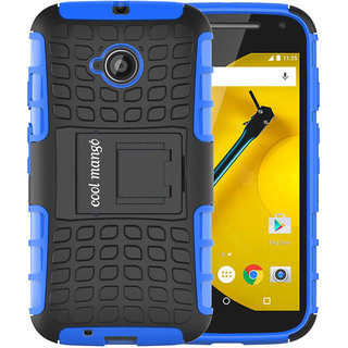 Moto E 2nd Gen Protective Case / Moto E2 Back Case  Cool Mango Premium Dual Layer Armor Protection Case with Kickstand for Moto E 2nd Generation / E2 (3G  4G Models) - Blue
