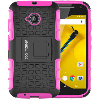 Moto E 2nd Gen Protective Case / Moto E2 Back Case  Cool Mango Premium Dual Layer Armor Protection Case with Kickstand for Moto E 2nd Generation / E2 (3G  4G Models) - Pink