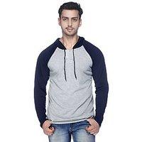 Mavango GreyBlue Hooded Long Sleeve T-Shirt For Men