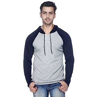 Mavango GreyBlue Hooded Long Sleeve T-Shirt For Men: Buy Mavango ...