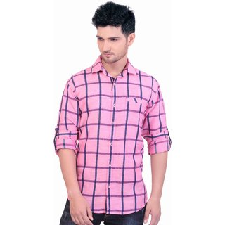 288a57dd Goplay Pink Slim Fit Linen Casual Shirt For Men available at ShopClues for  Rs.1199