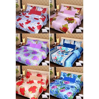 Akash Ganga Beautiful Combo of 6 Double Bedsheets with 12 Pillow Covers (AG1254)