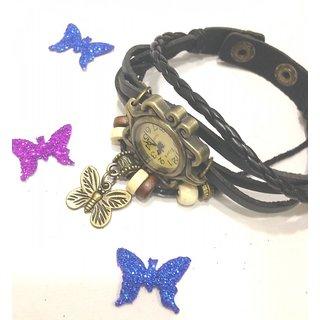 Vintage retro beaded bracelet leather pretty ladies wrist watch-Black Butterfly.