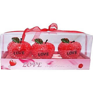 Zarsa Love Apple Candle(Multicolor Pack of 3)