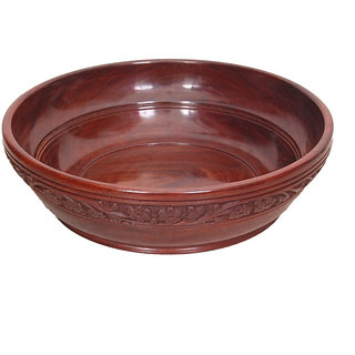 Onlineshoppee Wooden With Handcarving Kitchen Ware Bowl Size (LxBxH-10x10x3) Inc
