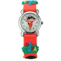 Round Dial OrangeGreenMulti Rubber Strap Girls Kids Watch