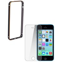 Ygs Premium Aluminium Bumper Case For  Apple Iphone 5/5S-Black With Tempered Glass
