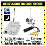 WIRELESS CCTV 12 IR NIGHT VISION CAMERA WITH Easycap Capture 4 Ch. USB Adapter