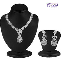 Sukkhi Silver Plated Silver Alloy Necklace Set For Women